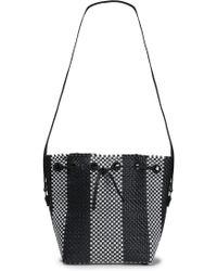 Truss - Woman Woven Raffia-effect Bucket Bag Black - Lyst