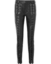 Mugler - Woman Lace-up Leather Slim-leg Pants Black - Lyst