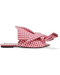 N°21 - Woman Knotted Gingham Canvas Slides Red - Lyst
