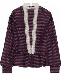Stella Jean - Crochet-trimmed Striped Cotton And Silk-blend Top - Lyst