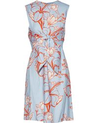 Lela Rose - Tie-front Layered Printed Twill Dress - Lyst