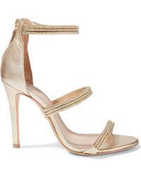 2c2c8b030a7f Schutz - Dyane Metallic Cord And Leather Sandals - Lyst