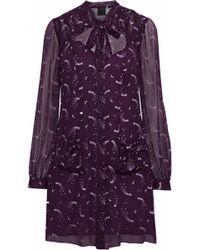 286a852ca1a7dd Anna Sui - Woman Pussy-bow Printed Chiffon Mini Shirt Dress Purple - Lyst