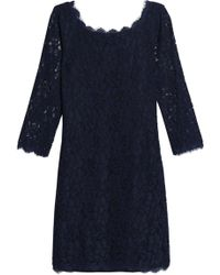 Diane von Furstenberg - Scalloped Corded Lace Dress Midnight Blue - Lyst