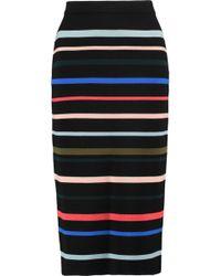 Lela Rose   Striped Wool Midi Skirt   Lyst