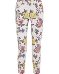 House of Holland - Cropped Mid-rise Floral-print Skinny Jeans - Lyst