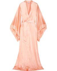 La Perla - Lace-trimmed Silk-blend Satin Robe - Lyst