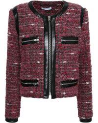 IRO - Leather-trimmed Bouclé Jacket Plum - Lyst