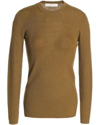 Vanessa Bruno - Woman Ribbed-knit Wool Top Army Green - Lyst