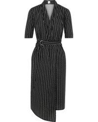 Iris & Ink - Woman Eloise Printed Cotton-poplin Wrap Dress Black - Lyst