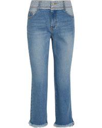 Steve J & Yoni P - Woman Frayed Faded Mid-rise Slim-leg Jeans Light Denim - Lyst