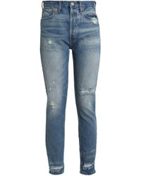 RE/DONE - Woman Distressed High-rise Straight-leg Jeans Mid Denim - Lyst