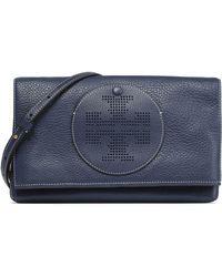 Tory Burch - Laser-cut Embellished Leather Shoulder Bag - Lyst