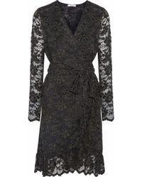 Ganni - Woman Flynn Ruffled Lace Wrap Dress Forest Green - Lyst
