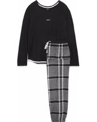 DKNY - Printed Fleece And Stretch Modal-jersey Pajama Set - Lyst