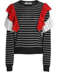 MSGM - Ruffled Striped Knitted Jumper - Lyst