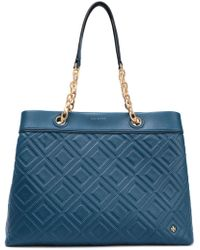 Tory Burch - Quilted Leather Tote Storm Blue - Lyst