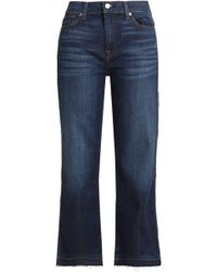 7 For All Mankind - Cropped Faded Mid-rise Booctut Jeans - Lyst