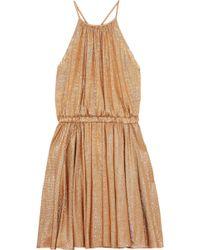 Halston - Metallic Stretch-jersey Mini Dress - Lyst