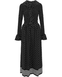 Stella McCartney - Smocked Ruffled Polka-dot Silk Jumpsuit - Lyst