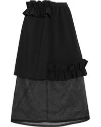 Paskal - Ruffle-trimmed Bonded Stretch-crepe And Organza Skirt - Lyst