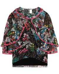 Peter Pilotto - Ruffled Printed Silk-georgette Blouse - Lyst