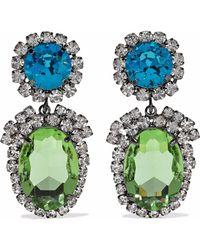 Kenneth Jay Lane - Woman Gunmetal-tone Crystal Clip Earrings Multicolor - Lyst