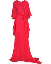 Oscar de la Renta - Draped Embroidered Silk Gown - Lyst