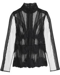 Dolce & Gabbana - Lace-trimmed Tulle Turtleneck Top - Lyst