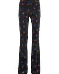 Victoria, Victoria Beckham | Printed Velvet Flared Pants | Lyst