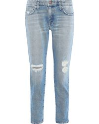 Current/Elliott - Distressed Mid-rise Skinny Jeans Light Denim - Lyst