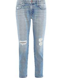 Current/Elliott - The Fling Distressed Boyfriend Jeans Light Denim - Lyst