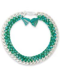 Aurelie Bidermann - 18-karat White Gold-plated And Cotton Braided Necklace - Lyst