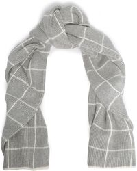 Madeleine Thompson - Woman Intarsia-knit Wool And Cashmere-blend Scarf Light Gray - Lyst