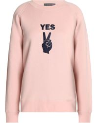 Alexa Chung Woman Flocked Cotton-fleece Sweatshirt Blush Size M AlexaChung Fashion Style Online Outlet Pictures aBF5ImA