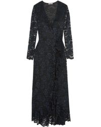 5c747518 Claudie Pierlot Woman Roberta Gathered Georgette Maxi Dress Navy in Blue -  Lyst