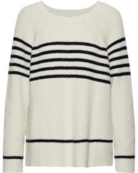 Soft Joie - Woman Isabeth Striped Ribbed Cotton-blend Sweater Ecru - Lyst