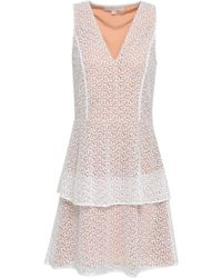 MICHAEL Michael Kors - Tiered Embroidered Tulle Mini Dress - Lyst
