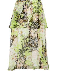 Opening Ceremony - Faux Pearl-embellished Floral-print Georgette Midi Skirt - Lyst
