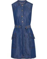 Splendid - Wilder Belted -chambray Mini Dress Mid Denim - Lyst