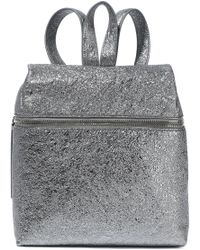 Kara - Woman Metallic Textured-leather Backpack Silver - Lyst