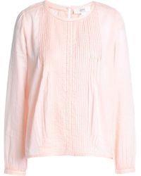Vanessa Bruno Athé - Crochet-trimmed Pintucked Cotton Blouse - Lyst