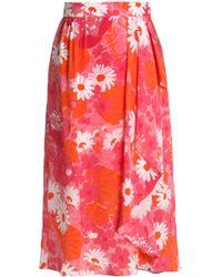 Michael Kors - Draped Floral-print Silk-chiffon Wrap Skirt - Lyst