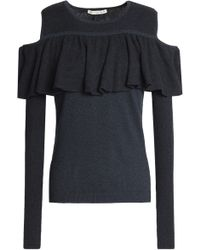 Autumn Cashmere - Cold-shoulder Ruffled Cotton Jumper Storm Blue - Lyst