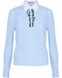 Prada - Embellished Striped Cotton-poplin Shirt - Lyst