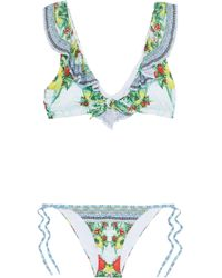 Camilla - One Flew Over Embellished Ruffled Printed Bikini - Lyst