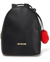 Love Moschino - Woman Pompom-embellished Faux Leather Backpack Black - Lyst