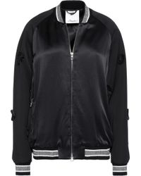 3.1 Phillip Lim - Appliquéd Wool-paneled Satin Bomber Jacket - Lyst