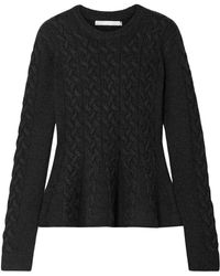 Jason Wu - Cable-knit Wool-blend Peplum Sweater Charcoal - Lyst