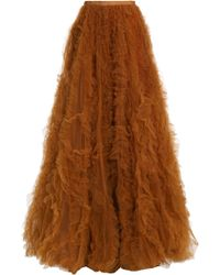 Jenny Packham - Woman Bow-detailed Ruffled Tulle Maxi Skirt Light Brown Size 10 - Lyst